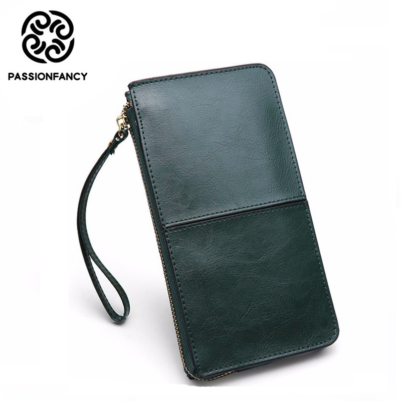 Vintage Oil Wax Leather Long Wallets for Women Clutch Card Holder Phone Coin Purse High Quality Genuine Leather Organizer Wallet 2016 brand design high quality women genuine leather vintage wallet cowhide coin purse oil waxing purses zipper pocket wallets