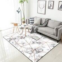 Modern Nordic Imitation marble texture carpet Geometric door mat velvet plush Bedroom living room non-slip bedside rug customize