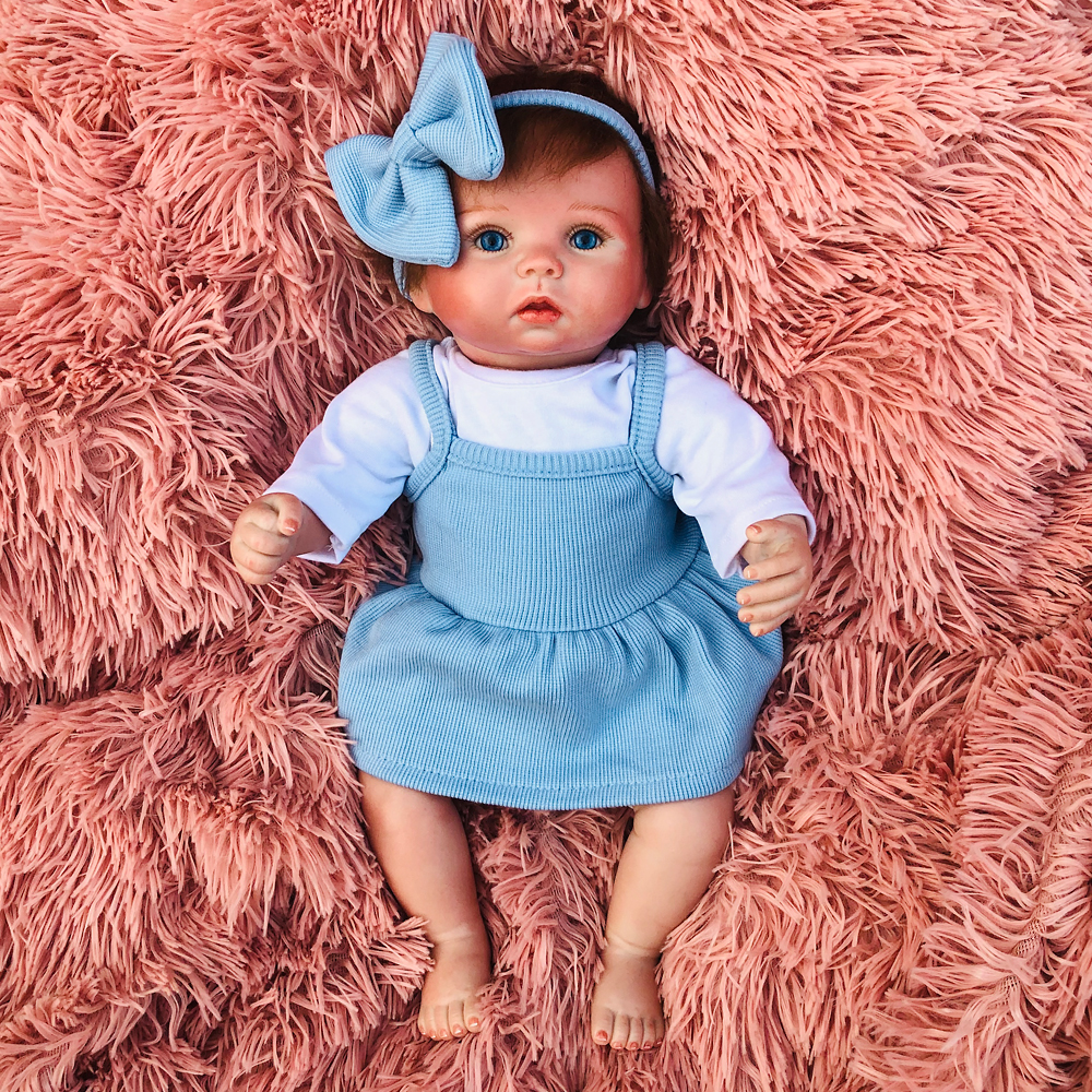 Pretty blue bow girl bebe reborn doll 38cm soft silicone reborn baby dolls alive toddler menina children surprice gifts toy lol in Dolls from Toys Hobbies