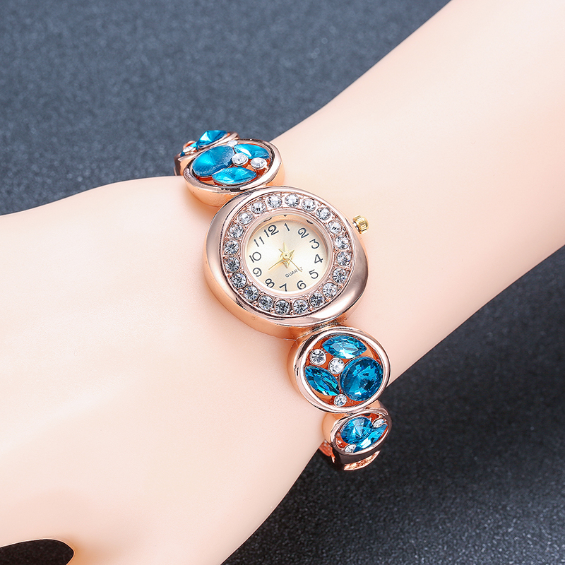 Fashion Luxury Blue Crystal Diamond Bracelet Quartz Watch Woman Watch Top Quality Brand Luxury Ladies Wrist Watches for Women mance ladies brand designer watches luxury watch women 2016 crystal rivet bracelet braided winding wrap quartz watches quality
