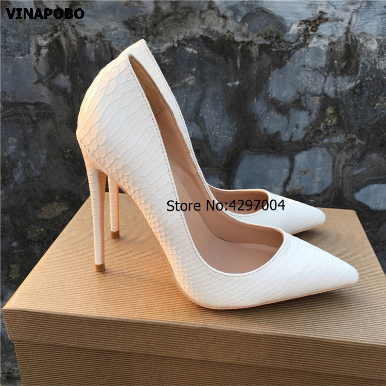 2018 Sexy Women Pumps white Snake Printed High Heels Pointed Toe Stiletto High Heel Party Dress