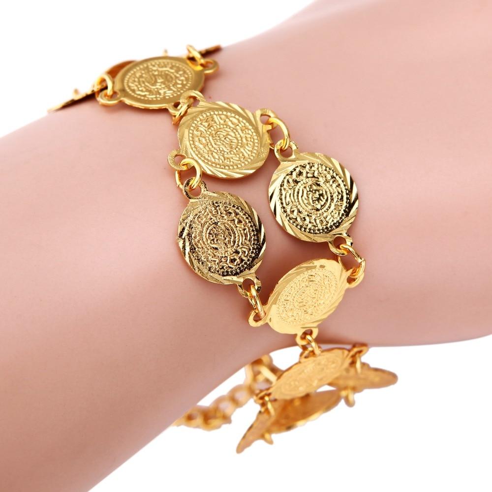 24k Gold Color Money Coin Bracelet Islamic Muslim Arab