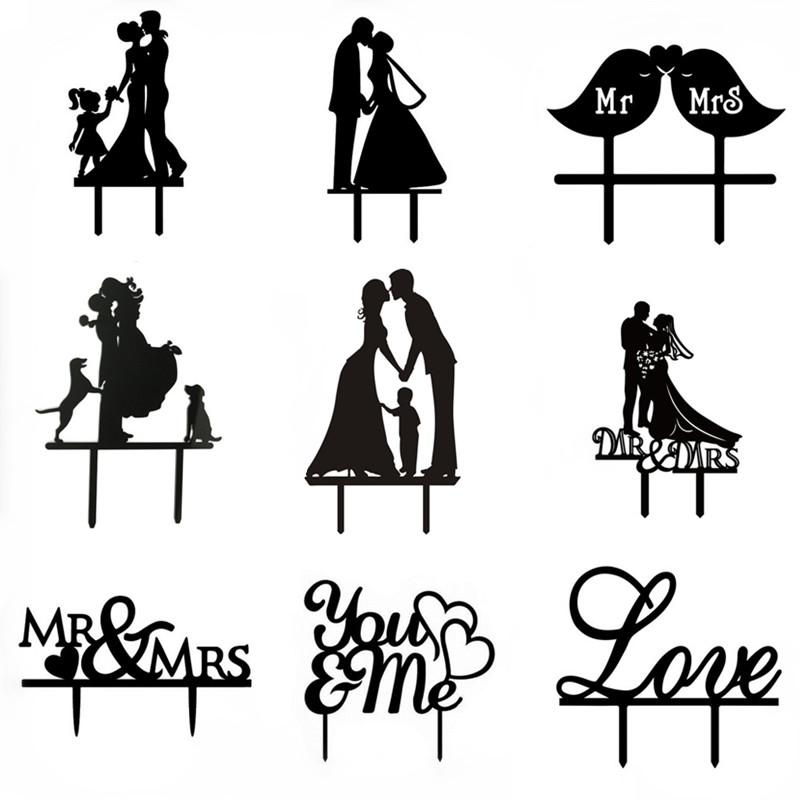 Multi Styles Love You & Me Acrílico Cake Flag Topper Mr & Mrs Cake Flags Para la Fiesta de Aniversario de Bodas Cake Baking Decor