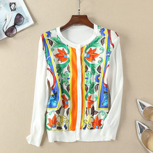 Red RoosaRosee 2019 Summer Runway Women's Floral Print Silk Knitted Patchwork White Shirt Tops Women's High-end Elegant Blouses