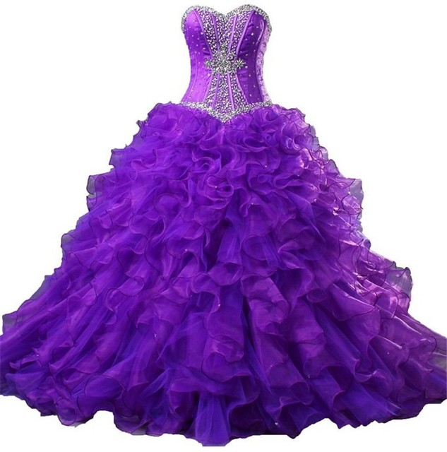 Vestido Nueva Púrpura Vestido De Quinceanera Dulce 18 Anos Elegante vestido de Bola de Las Colmenas Con Gradas Con Cuentas Vestidos Formales Del Partido Vestidos Del Desfile