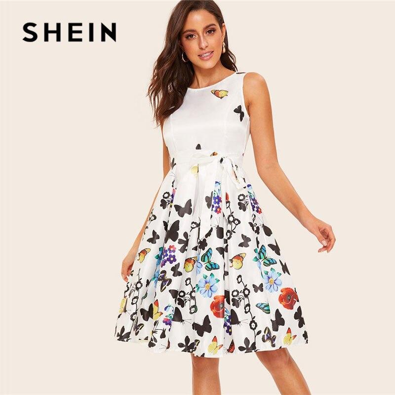 SHEIN винтажное платье на молнии сзади с цветочным принтом и принтом бабочки, Белое платье миди с поясом, женское летнее плиссированное платье...