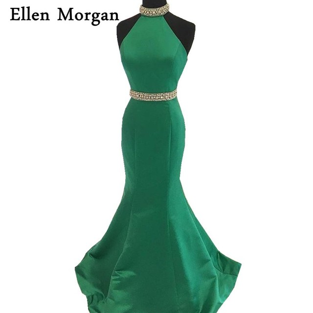 Emerald Mermaid Prom Dresses For African Black Girls 2017 Sexy Halter Backless Satin Beading Special Occasion Party Gowns