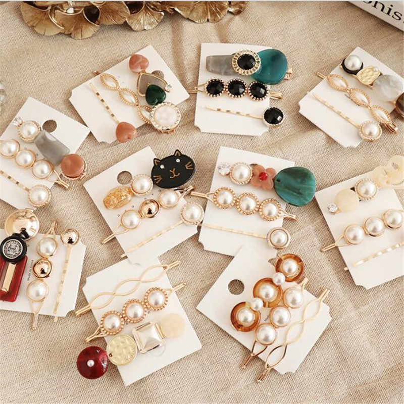 3PCS Korea Vintage Acrylic Resin Beads Hairpins Imitiation Pearl Metal Gold Color Hair Clips Hair Accessories for Women