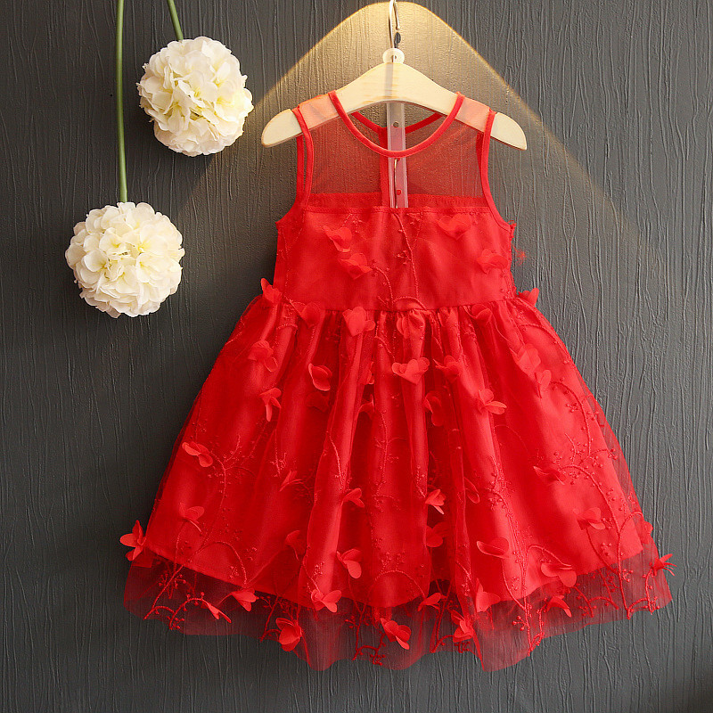 Summer Girl Dress Fashion Style Baby Clothes 2018 New Sleeveless Three-Dimensional Flowers Net Yarn Princess Dress Clothes ems dhl free shipping toddler little girl s 2017 princess ruffles layers sleeveless lace dress summer style suspender
