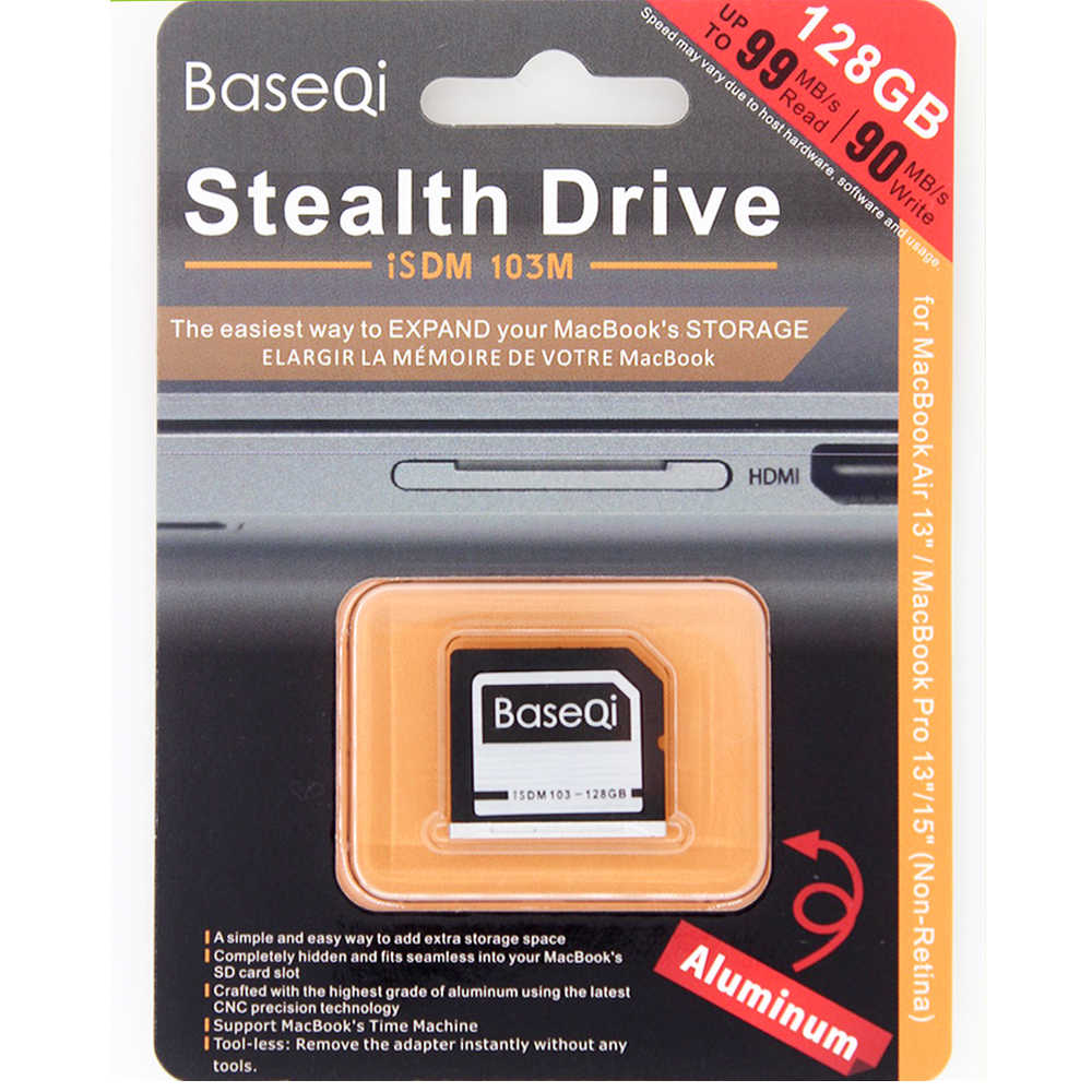 BaseQi Aluminum Mini Drive 128GB SD Card For Dell XPS 15