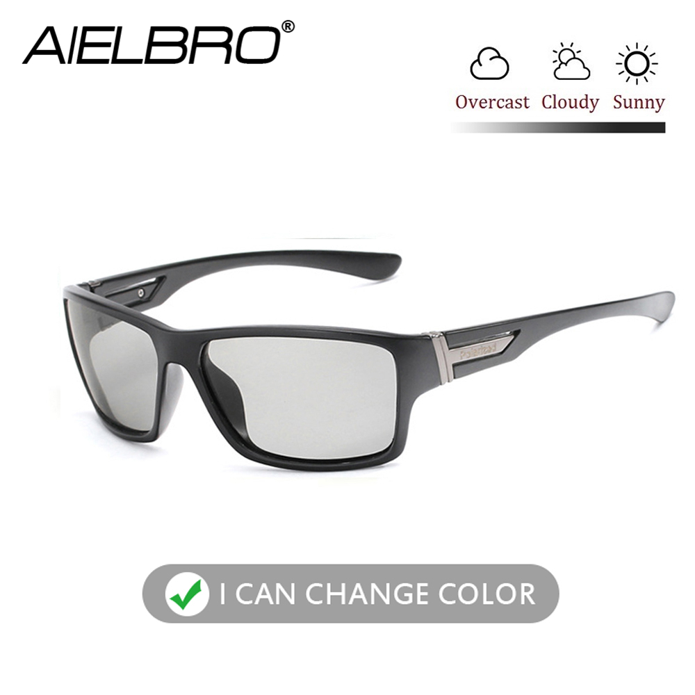 AIELBRO Square Men Women Polarized Chameleon Discoloration Sun Glasses Photochromic Eyeglasses Sport Driving Fishing Cycling New