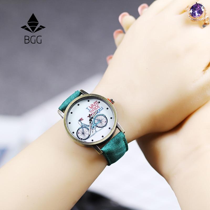 2018 Fashion Brand Quartz Watches Bicycle Pattern Cartoon Watch Women Casual Vintage Leather Girls Kids Wristwatches Gifts Clock