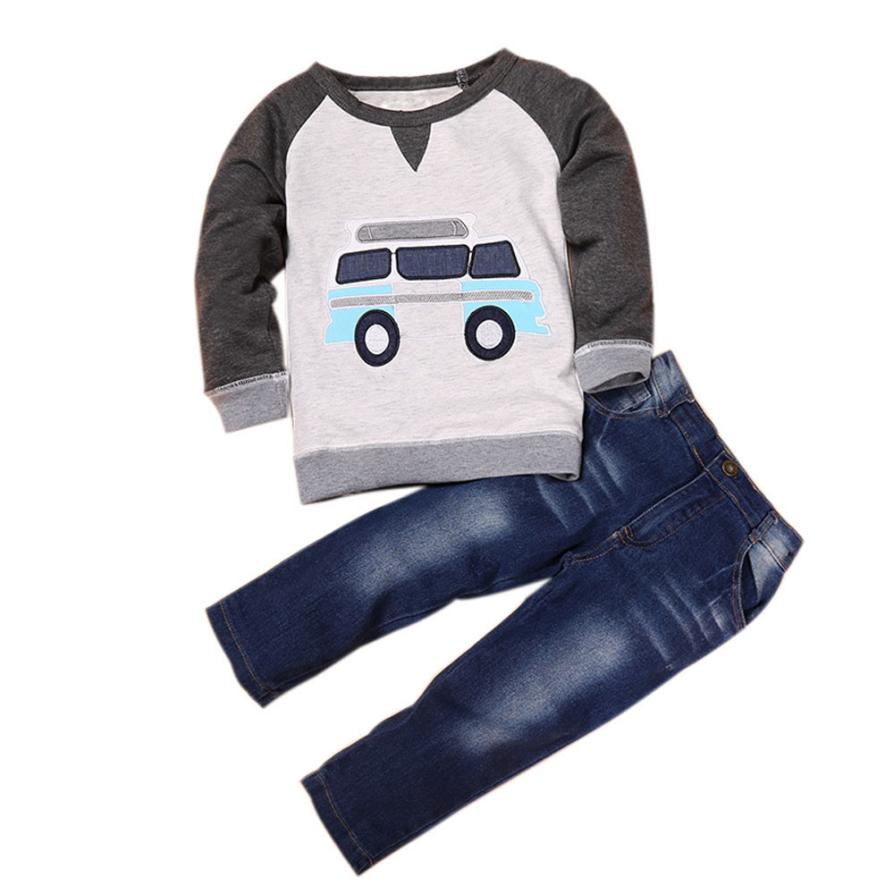 BMF TELOTUNY Fashion Clothing Toddler Boys Outfit Clothes Car Print T-shirt Tops+Long Jeans Trousers 1Set Jun12