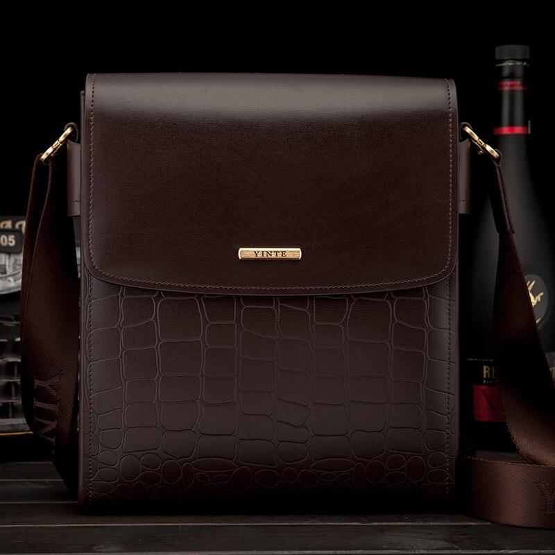 YINTE bolso de mensajero clásico bolso para hombre de negocios de cuero bolsos de negocios de Color marrón pequeño bandolera Cartera de hombre T8245-2