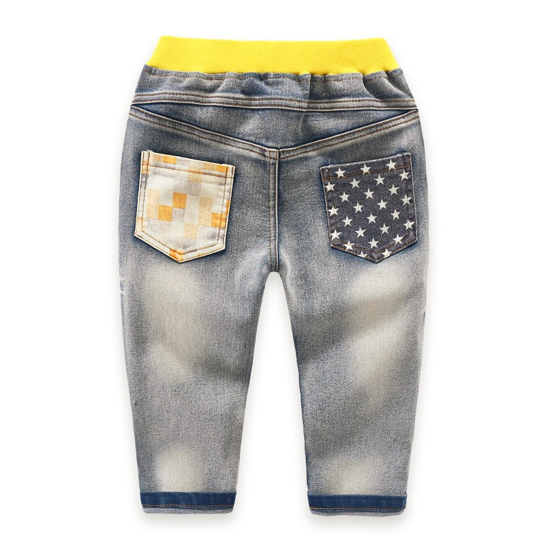 Kids Jeans Pants Children Full Length Jeans Pants Spring Autumn Star PrintedJeans with Elastic Waist For 3 to 7 years old 2