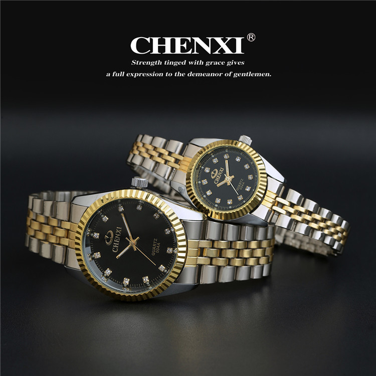 Luxury CHENXI Crystal Diamond Silver Gold Steel Japan Movt Dress Wristwacthes Wrist Watch for Men Women