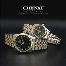 De luxe CHENXI Cristal Diamant Argent Or Acier Japon Movt Robe Wristwacthes Montre-Bracelet pour Hommes Femmes Amateurs 004A
