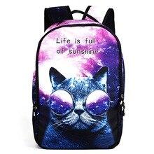 2017 mode féminine sac à dos 3d chat école sac à dos pour les adolescentes ordinateur portable sac à dos mochilas escolares adolescentes femininas