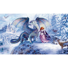 YIKEE diamond painting Girls and Snow Dragon,dimond painting full square,diamond diamond painting K949 h1616 dimond painting full square 3d diamond 5d full square diamond painting snow mountain aurora borealis