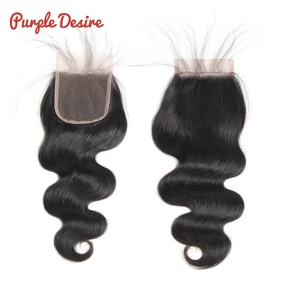 הברזילאי גוף גל סגירה סגירה 4x 4 חינם / בינוני / שלושה חלקים רמי שיער אדם סגירה 8-24inch צבע שחור טבעי יכול להיות צבוע