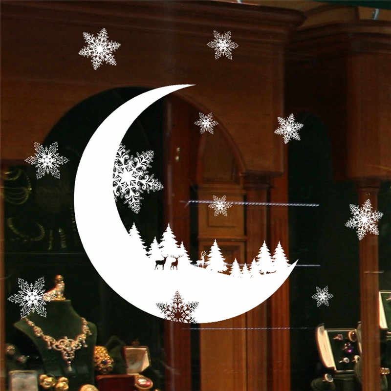 Christmas Decorations For Home Snow Christmas Decoration Bedroom Wall Stickers Wallpaper New Year Stickers Kids Room Decor
