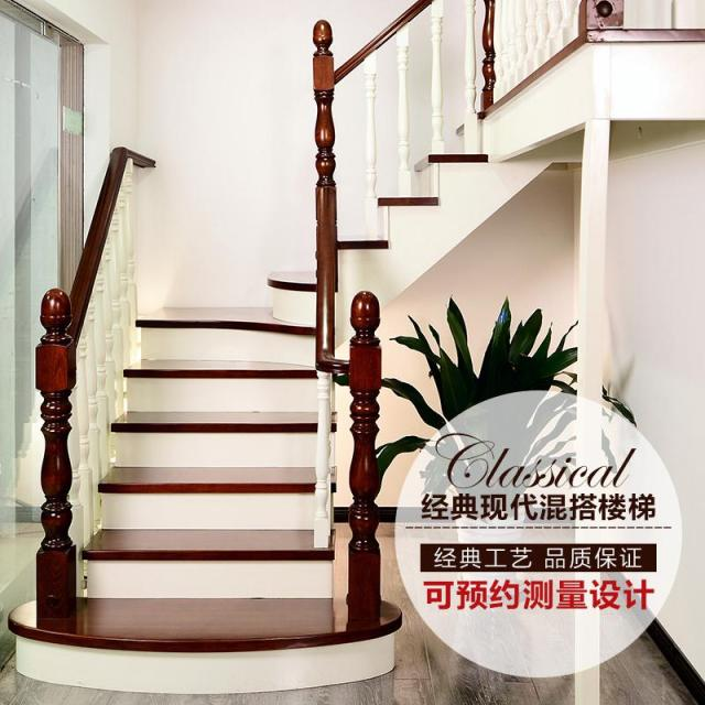 Chengdu Wooden Staircase Railing And Stairs Duplex Villa Wood Handrail Column Plant
