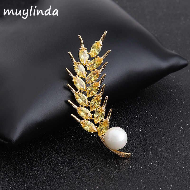 Muylindaエレガントな小麦ブローチ高級女性のブローチピンのジュエリー美しい耳小麦ブローチのギフト