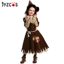 цены JYZCOS Girls Fairy Tale The Wizard of OZ Costume The Scarecrow Cosplay Purim Halloween Costume for Kids Carnival Party Costume