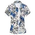 Homens 6XL camisa M-5XL 2016 verão new masculino mens flor floral camisa de manga curta moda camisas havaianas G0216