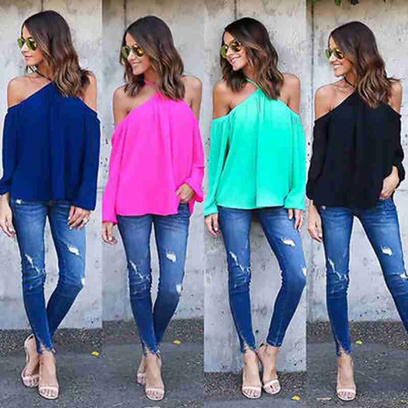 Fashion Womens Summer Halter Tops Off Shouler Long Sleeve Shirt Casual Loose Pullover Blouse ...