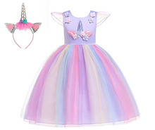 Kids Baby Summer Girls Dress Unicorn Princess Pink Birthday Party Cosplay Clothes Costume