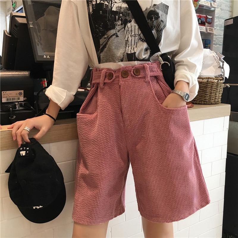2 Kleuren Mihoshop Ulzzang Koreaanse Korea Vrouwen Mode Kleding Zomer Hoge Taille Roze Wijde Pijpen Broek Shorts Rillingen En Pijnen