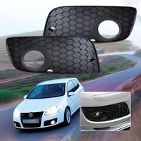 2Pc New Black High Quality Front Left Right Bumper Fog Light Lamp Grill Grille For VW