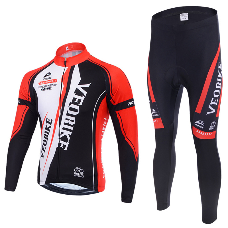 VEOBIKE Winter Thermal Brand Pro Team Cycling Jersey Set Long Sleeve Bicycle Bike Cloth Cycle Pantalones Ropa Ciclismo Invierno veobike cycling jersey ciclismo 2017 pro team 8 style men s winter long sleeve bike set mtb bicycle wear ropa ciclismo invierno