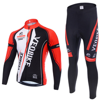 VEOBIKE Winter Thermal Brand Pro Team Cycling Jersey Set Long Sleeve Bicycle Bike Cloth Cycle Pantalones Ropa Ciclismo Invierno
