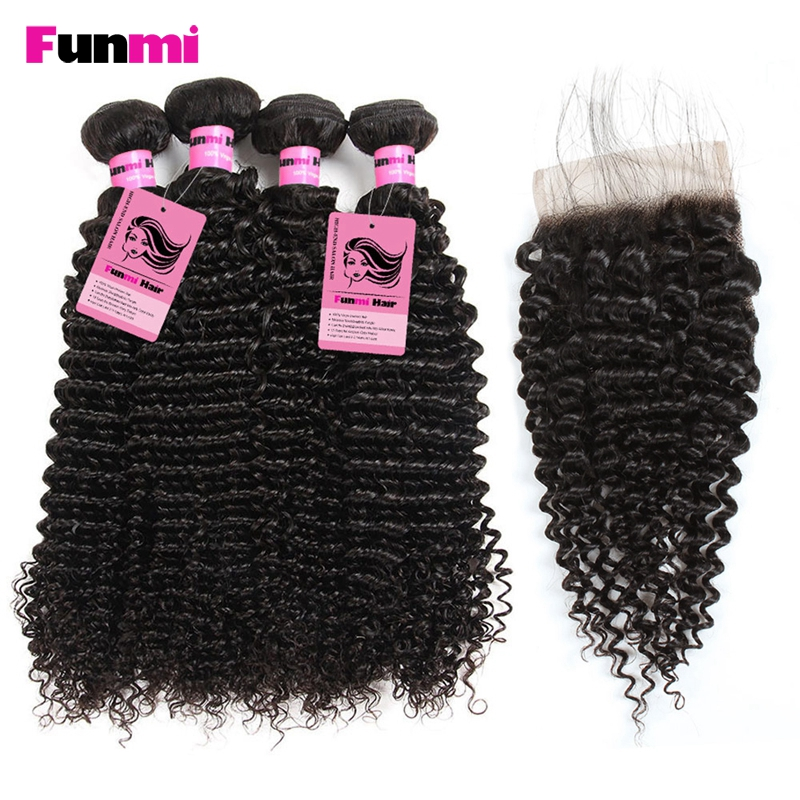 Funmi Raw Indian Kinky Curly Bundles with Closure 4 Paquetes con - Equipos para peluquerías - foto 1