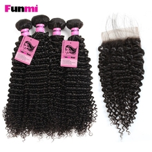 Funmi Raw Indian Kinky Curly Bundles with Closure 4 Paquetes con cierre Indian Hair Bundles con cierre de cabello humano virgen