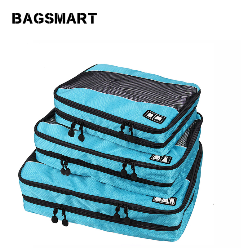 BAGSMART Storage Bag 3 Pcs Double Layer Packing Cube For Clothing Zippers Luggage Bag For Shirt Travel Duffle Luggage Organizer