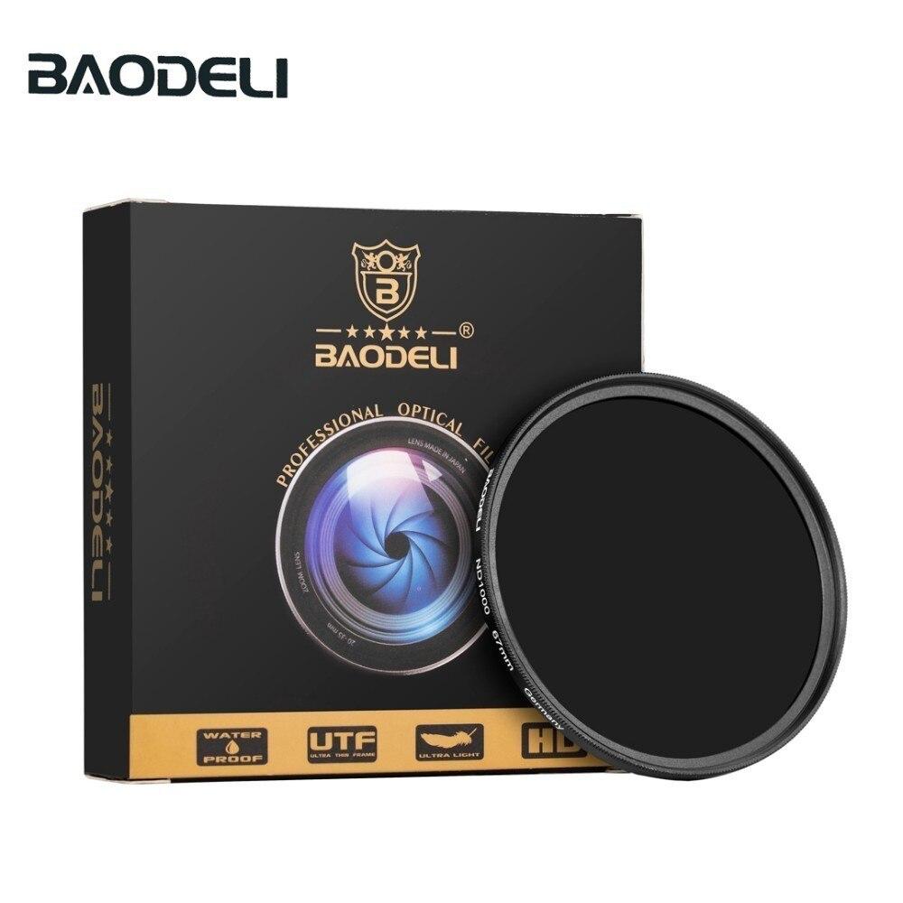 Baodeli densidade neutra filtro nd1000 64 8 conceito 49mm 52mm 55 58 62 67mm 72 77mm 82mm para câmara canon nikon sony filtro de lente
