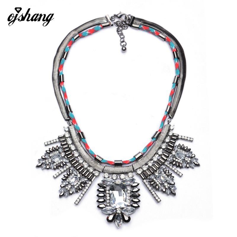 Flower Collier Femme 2016 Necklaces Pendants Crystal Vintage Choker Necklacer Maxi Kolye Bijoux Rope Chain Collares