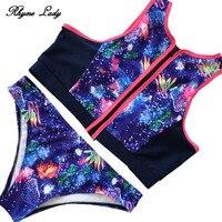 Rhyme Lady 2018 Bikini Set High Neck Swimsuit Women Swimwear Two Piece Bathing Suit Push Up