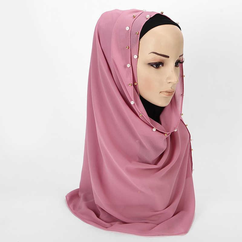 1 шт. Позолоченные жемчужные бусины шарф большой Solider цвет качество пузырь шифон шарф простые шали Хиджаб, мусульманский шарф 20 цветов 180*75 см