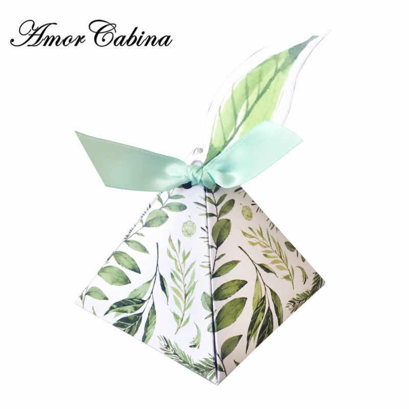 Зеленый лес стиль треугольная пирамида цветок листья конфеты коробки, свадебные сувениры Bomboniera подарок на день рождения коробка с лентой и биркой