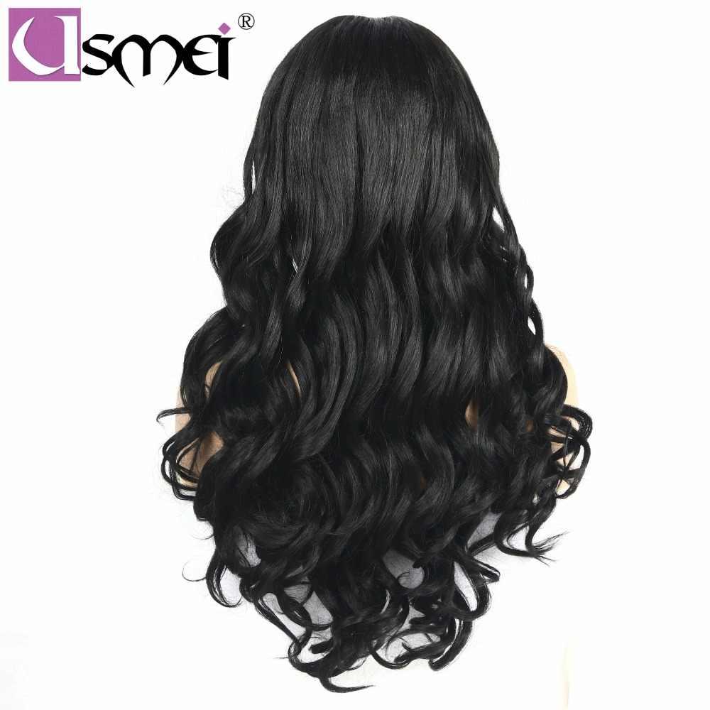 Peluca frontal de encaje USMEI peluca ondulada tejida a mano Peluca de encaje largo negro pelucas de pelo sintético para mujeres de dos colores elegir fiesta cosplay