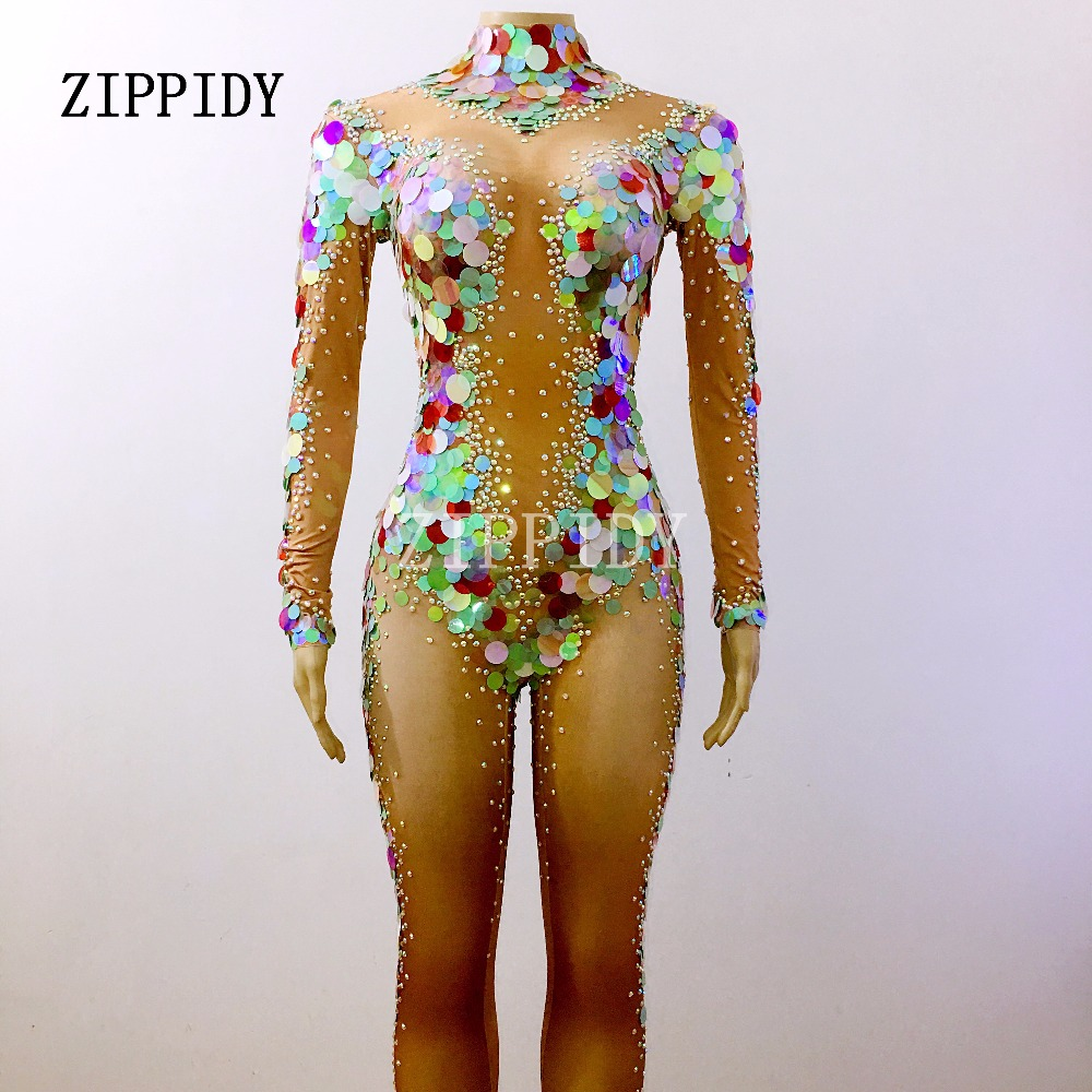 Paillettes multicolores sirène combinaison femmes Leggings cristaux Costumes strass célébrer Stretch barboteuses chanteur danseur tissu