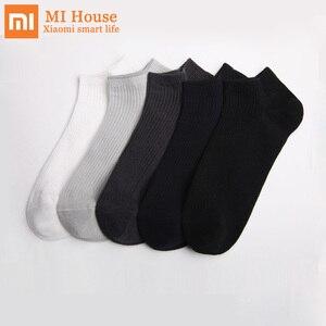 Image 1 - 5 paar/partij Xiaomi Mijia 365 slijtage Casual Mannen Sokken Katoenen Sokken Korte Onzichtbare Slippers Mannelijke Ondiepe Mond No Show Sok