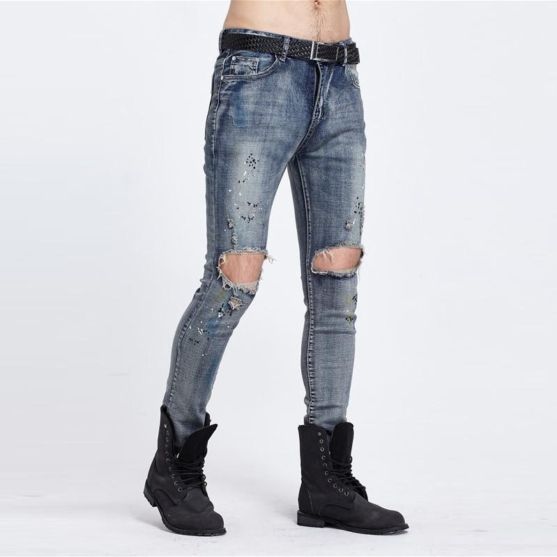 So Cool British High Street BIKER JEANS Pour Hole Body Elastic Feet Scratch Worn Locomotive Jeans 2017