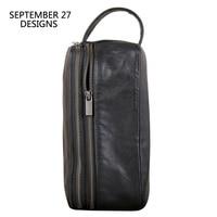 Clutch Bag Men Genuine Leather Large Capacity Money Bag Luxury Male Double Zipper Travel Wallets Phone Purses Organizer Wallet