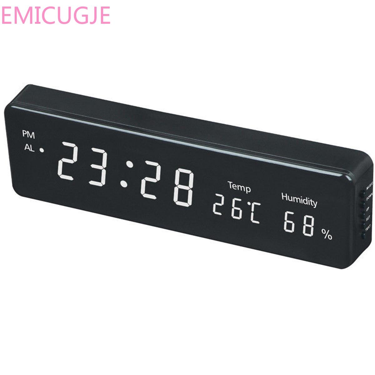 Humidity Display Desk Table Clocks Electronic LED Wall Watch Decor EU Plug Digital Wall Clock Big LED Time Calendar Temperature
