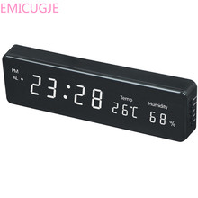 Pantalla de humedad relojes de mesa de escritorio electrónico LED Reloj de pared decoración enchufe de la UE Reloj de pared Digital gran LED tiempo calendario temperatura(China)